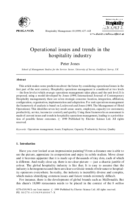 PDF) Operational issues and trends in the hospitality industry