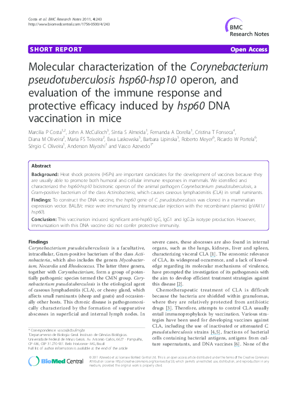 (PDF) Immunogenicity and Protection Efficacy of