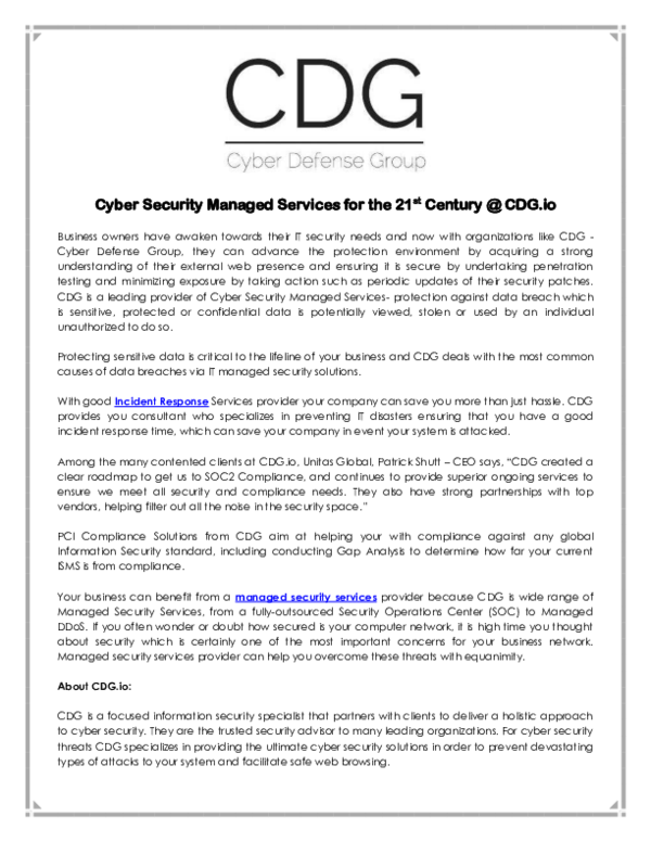 PDF) Cyber Security Managed Services   Lou Rabon - Academia edu
