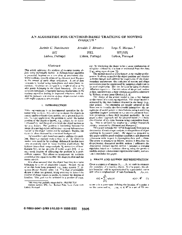 PDF) An algorithm for centroid-based tracking of moving