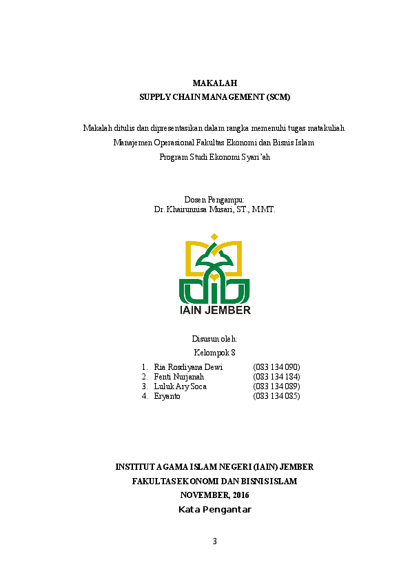 Doc Makalah Manajemen Operasional Supply Chain Management Scm Docx Riiea Dewi Academia Edu