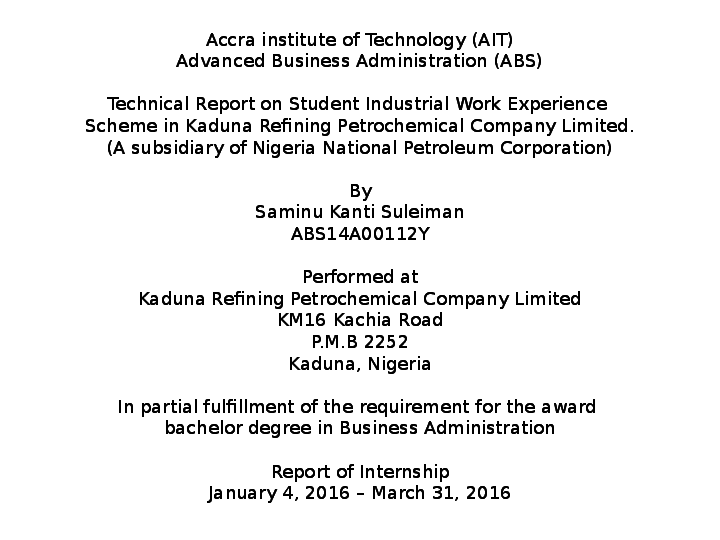 PPT) TECHNICAL REPORT ON STUDENT INDUSTRIAL WORK EXPERIENCE SCHEME