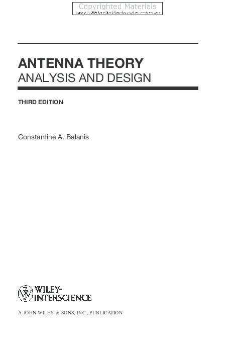PDF) ANTENNA THEORY ANALYSIS AND DESIGN THIRD EDITION