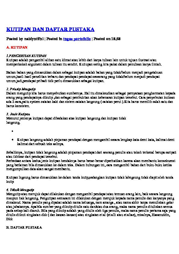 Doc Kutipan Dan Daftar Pustaka Ade Riani Academia Edu
