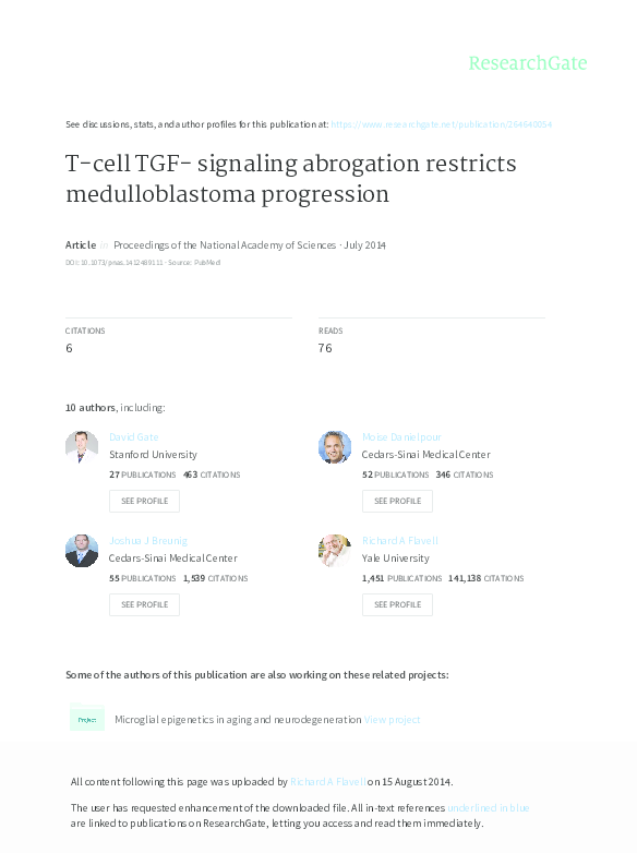 PDF) T-cell TGF-β signaling abrogation restricts medulloblastoma