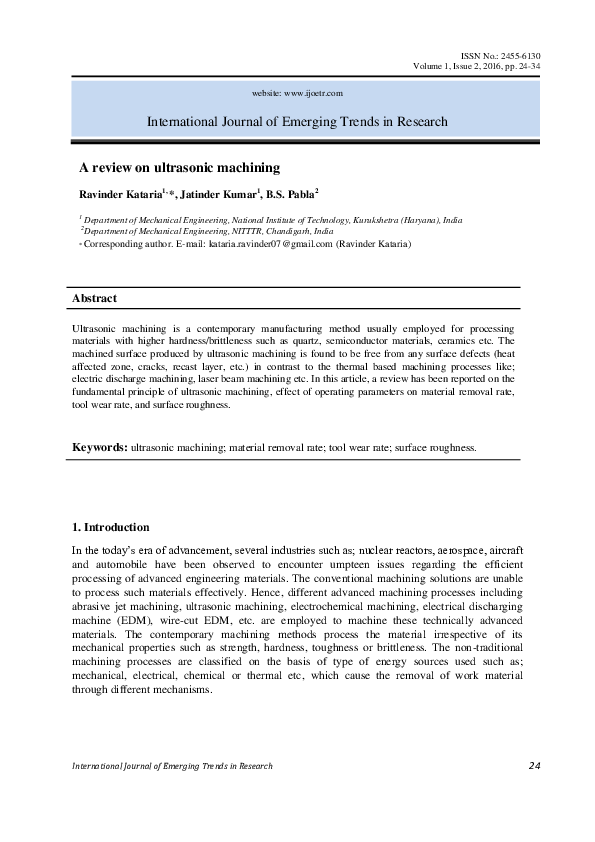 PDF) A review on ultrasonic machining.pdf   IJOETR Journal ...