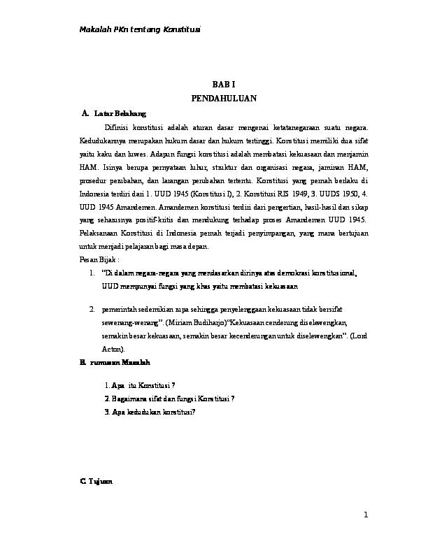 Doc Makalah Konstitusi Docx Annisatul Mujahidah Academia Edu