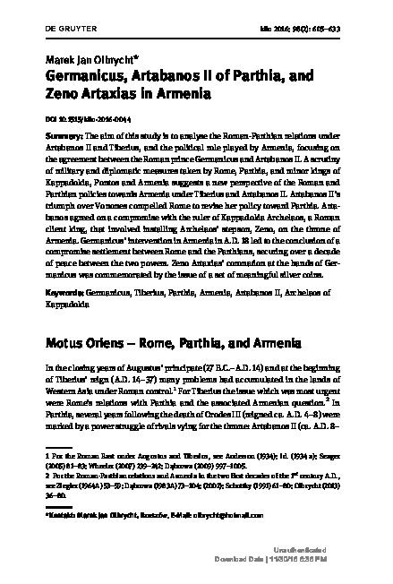 PDF) Germanicus, Artabanos II of Parthia, and Zeno Artaxias