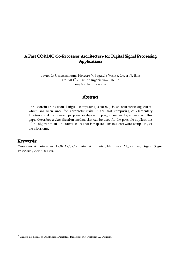 PDF) A fast CORDIC co-processor architecture for digital