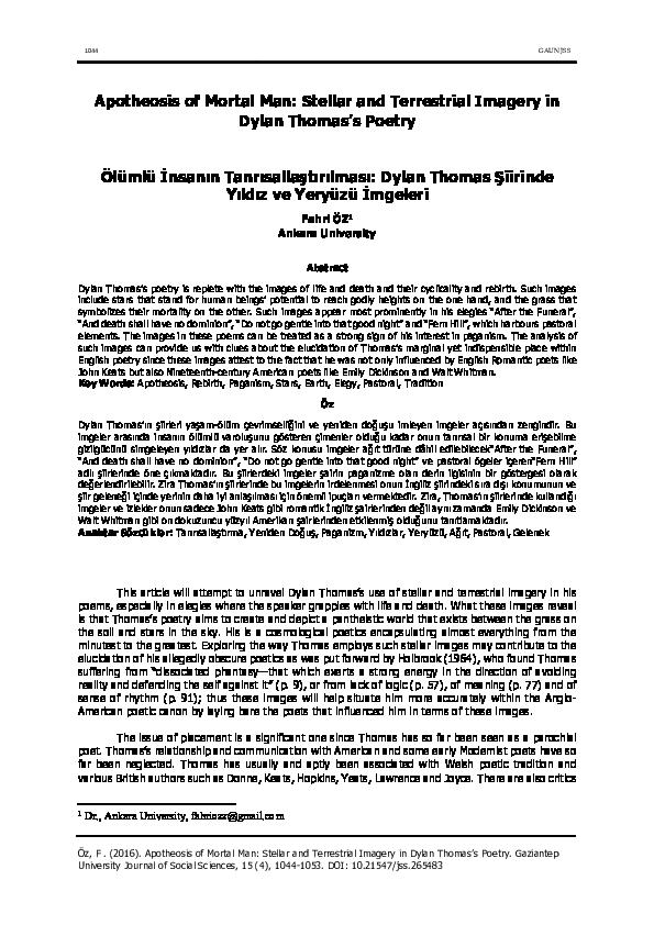 Pdf Apotheosis Of Mortal Man Stellar And Terrestrial Imagery In Dylan Thomas S Poetry Fahri Oz Academia Edu