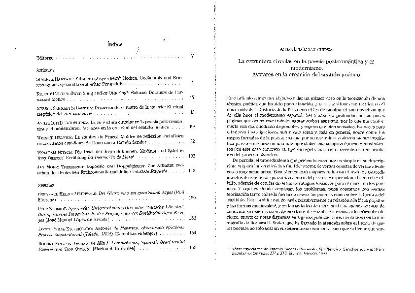 Pdf La Estructura Circular En La Poesía Post Romántica Y El