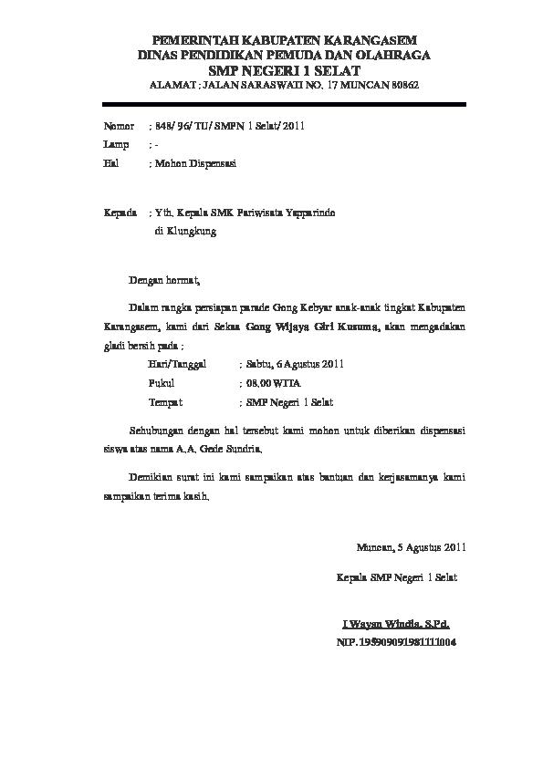 Doc Surat Permohonan Ijin Dispensasi Dari Guru Lentera