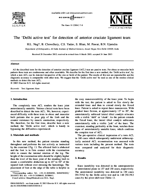 PDF) The 'Delhi active test' for detection of anterior
