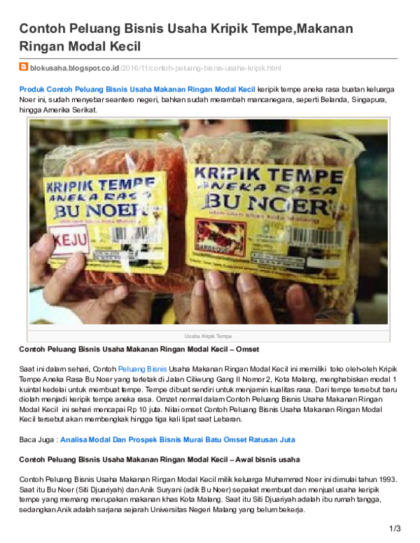 Pdf Blokusaha Blogspot Co Id Contoh Peluang Bisnis Usaha Kripik