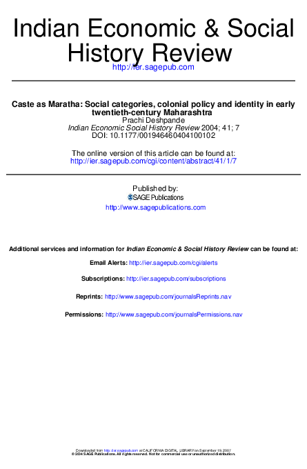 PDF) Caste as Maratha: Social categories, colonial policy and