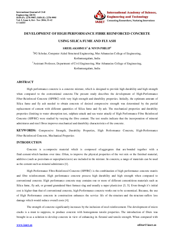 PDF) DEVELOPMENT OF HIGH PERFORMANCE FIBRE REINFORCED