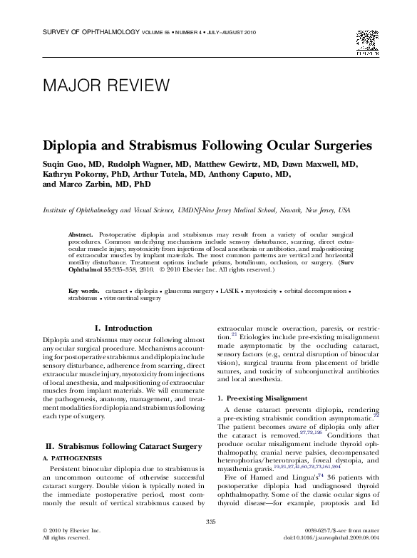 PDF) Diplopia and Strabismus Following Ocular Surgeries