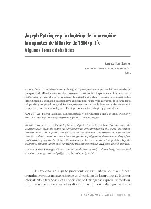 Pdf Joseph Ratzinger Y La Doctrina De La Creación Los