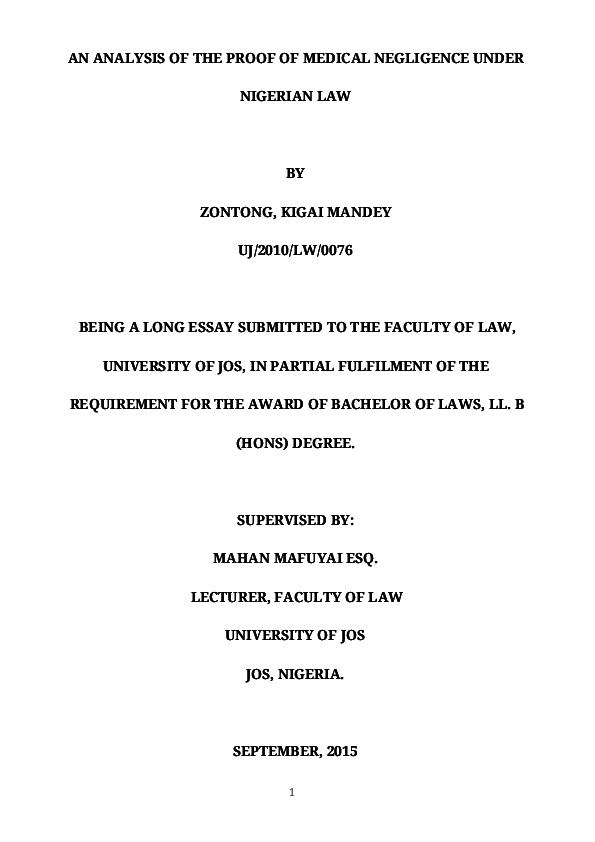 An Analysis Of The Proof Of Medical Negligence Under Nigerian Law  Pdf Argumentative Essay Thesis Example also Essays For High School Students To Read  Blog Writing Services