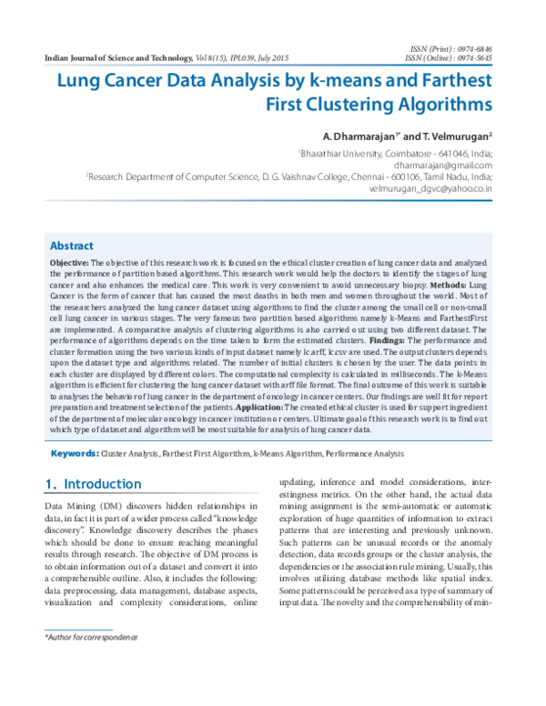 PDF) Lung Cancer Data Analysis by k-means and Farthest First