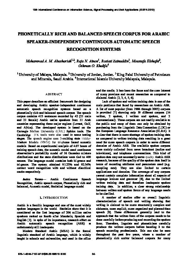 PDF) Phonetically rich and balanced speech corpus for Arabic