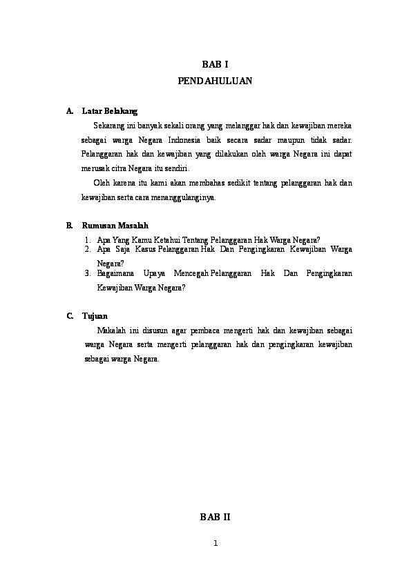 Makalah Kasus Kasus Pelanggaran Hak Dan Kewajiban Docx Yuniarsah