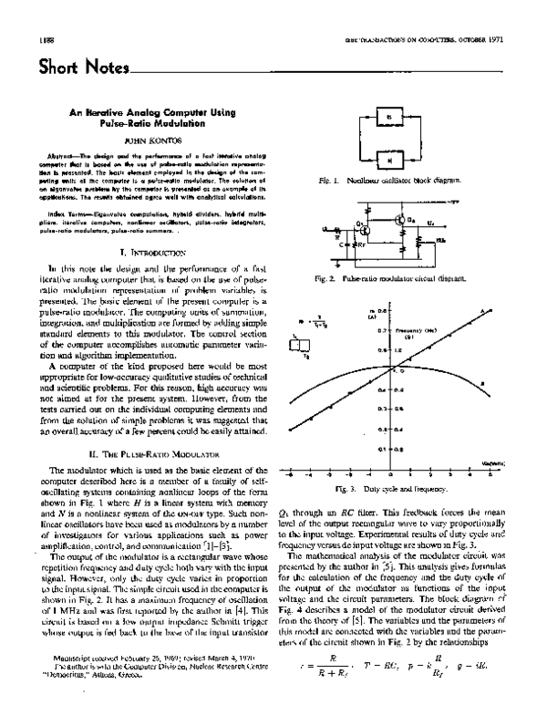 PDF) An Iterative Analog Computer Using Pulse-Ratio