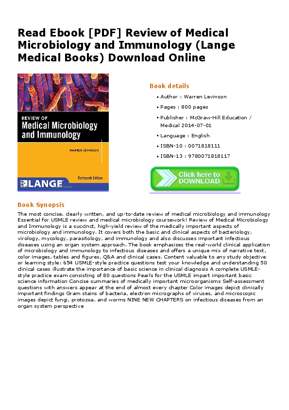 Review Of Medical Microbiology And Immunology 13th Edition Pdf
