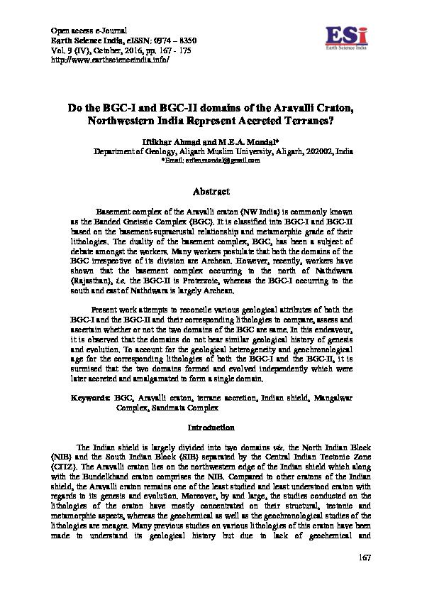 PDF) Do the BGC-I and BGC-II domains of the Aravalli Craton