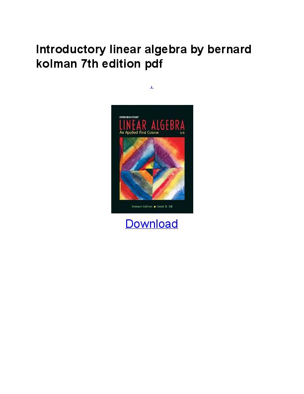 Elementary Linear Algebra 7th Edition Pdf