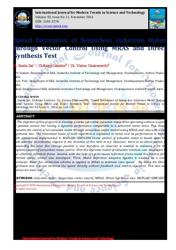 PDF) Speed Estimation of Sensorless Induction Motor through Vector