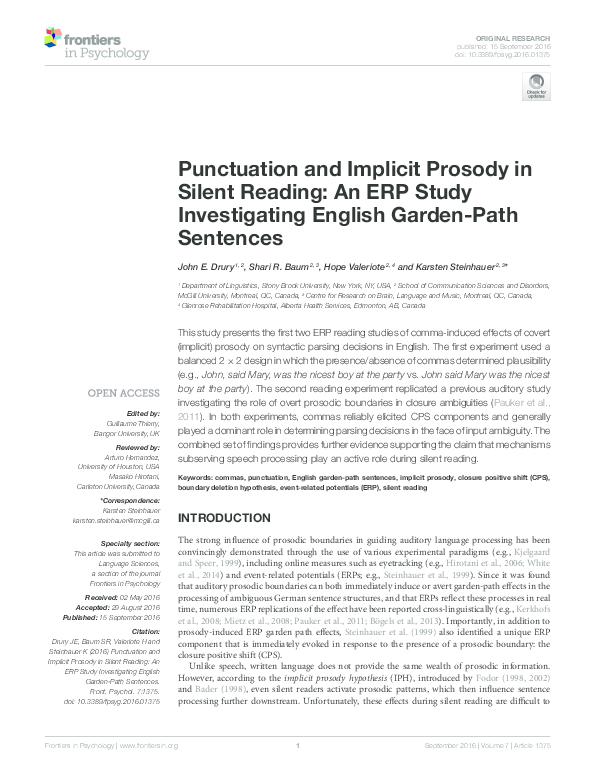 PDF) Punctuation and Implicit Prosody in Silent Reading: An