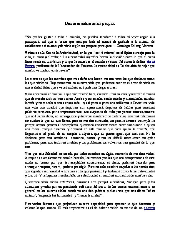 Doc Discurso Sobre Amor Propio Ramírez Esmeralda