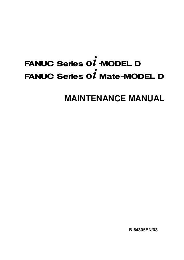 PDF) MAINTENANCE MANUAL FANUC Series 0 -MODEL D FANUC Series 0 Mate