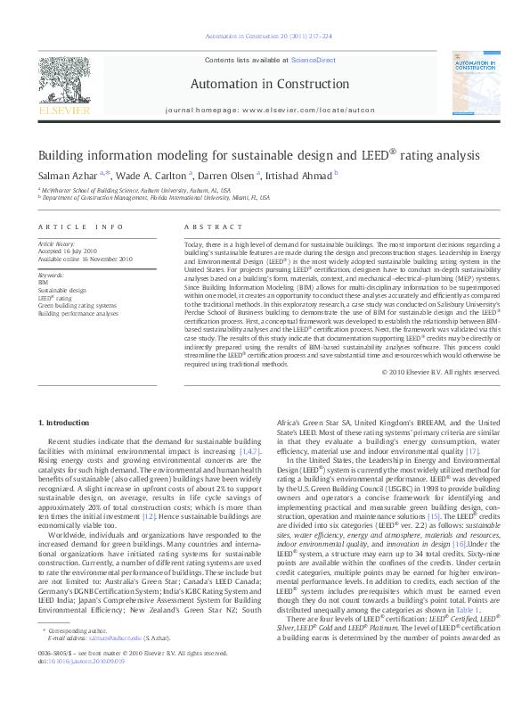 Pdf Building Information Modeling For Sustainable Design And Leed Rating Analysis Erica Nayara Academia Edu