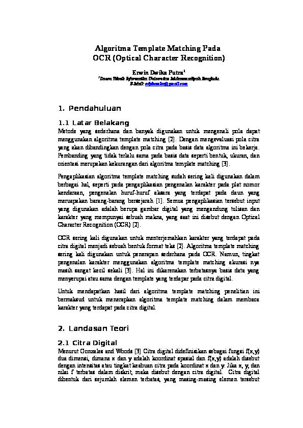 DOC) Algoritma Template Matching Pada OCR (Optical Character