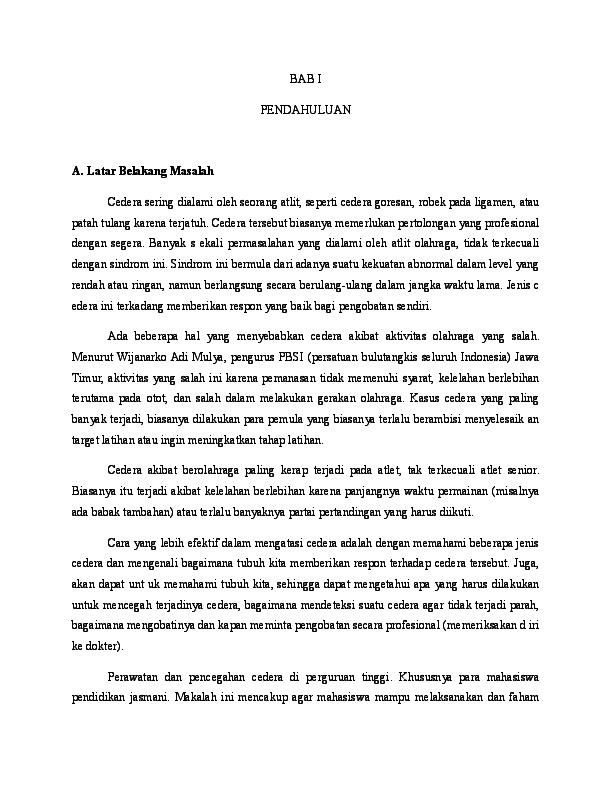 Doc Bab I Makalah Bulu Tangkis P3k Yusuf Yusuf Academia Edu