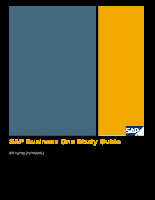 PDF) SAP Business One Study Guide | Waqas Athar - Academia edu