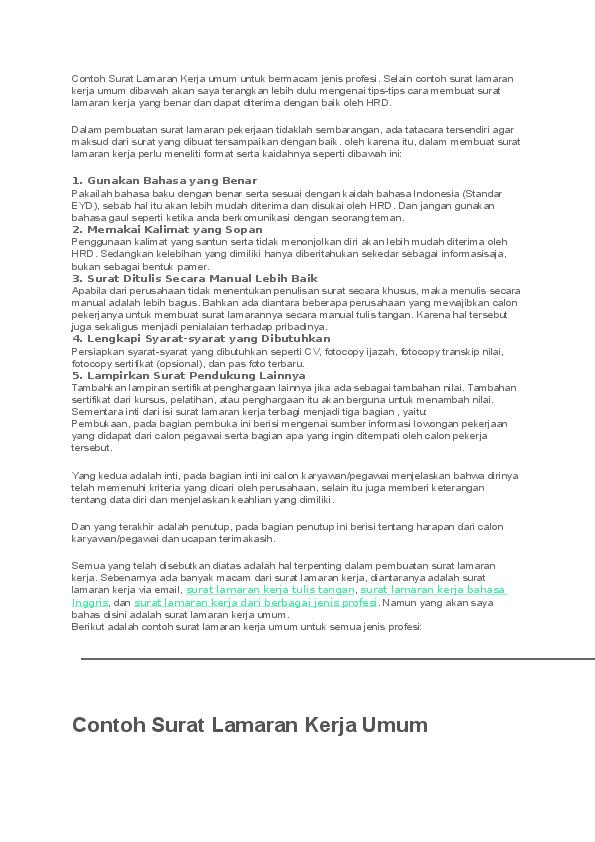 Doc Contoh Surat Lamaran Kerja Umum Muhammad Arifudin