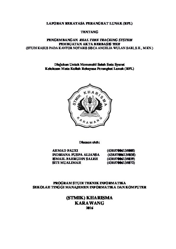 Pdf Laporan Rekayasa Perangkat Lunak Rpl Tentang Pengembangan Real Time Tracking System Pembuatan Akta Berbasis Web Ahmad Fauzi Academia Edu