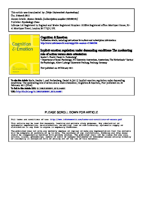 PDF) Implicit emotion regulation under demanding conditions: The