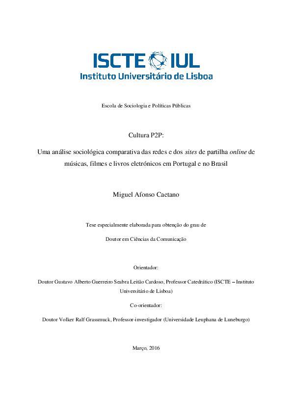 Pdf Cultura P2p Tese De Doutoramento Miguel Caetano