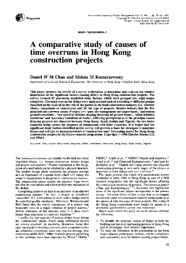 PDF) A comparative study of causes of time overruns in Hong
