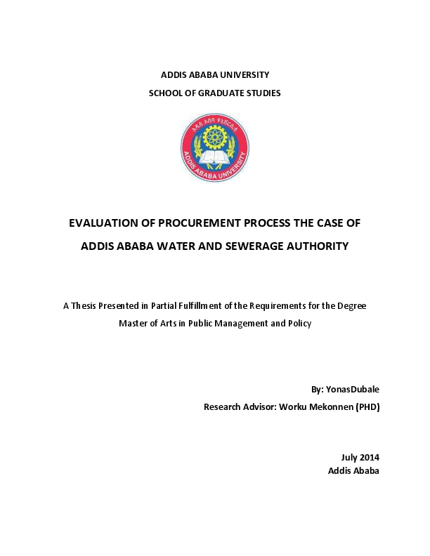 PDF) EVALUATION OF PROCUREMENT PROCESS THE CASE OF ADDIS ABABA WATER