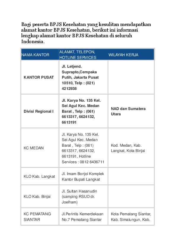 Doc Kantor Bpjs Kesehatan Seluruh Indonesia Terlengkap Daftar Alamat Telp Fax Email Docx Docx Laode Masykur Academia Edu
