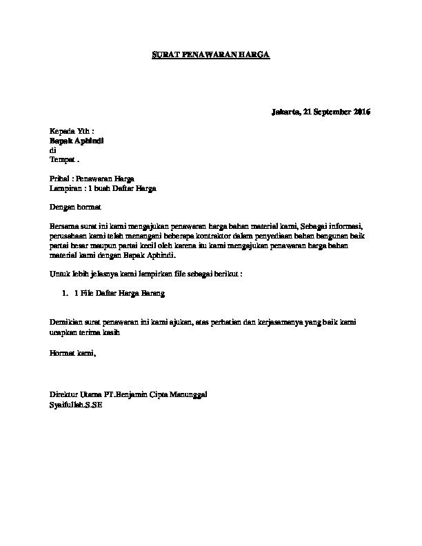 Pdf Surat Penawaran Harga Ahmad Hisyam Academiaedu