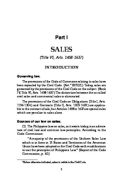 PDF) LAW OF SALES BY HECTOR DE LEON   Hedyzel Ayende - Academia edu