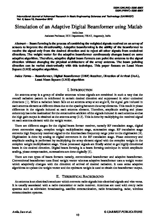 PDF) Simulation of an Adaptive Digital Beamformer using