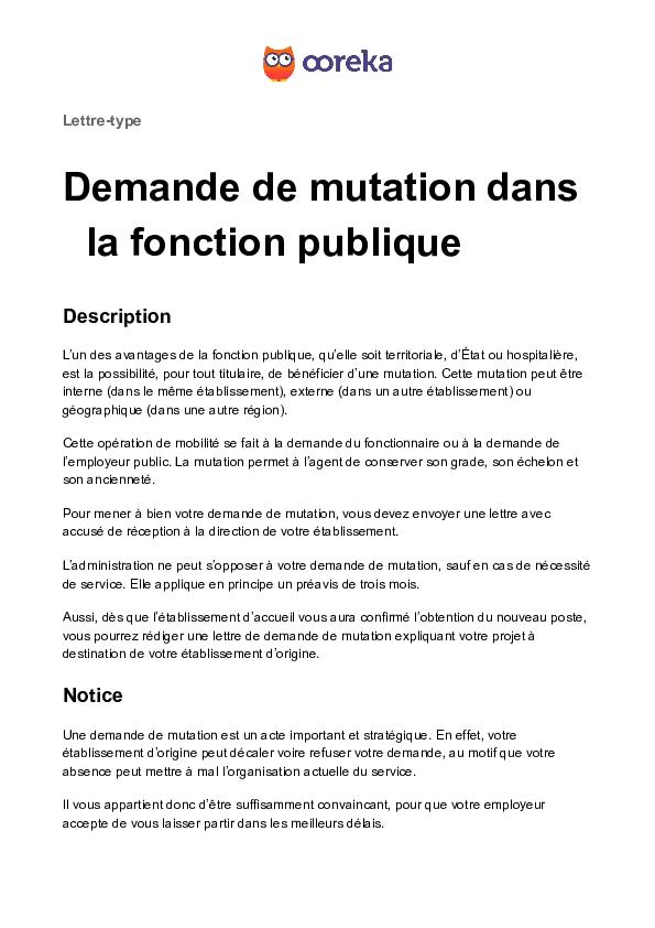 Doc Lettre Type Demande De Mutation Dans La Fonction Publique Gilio Virgil Academia Edu