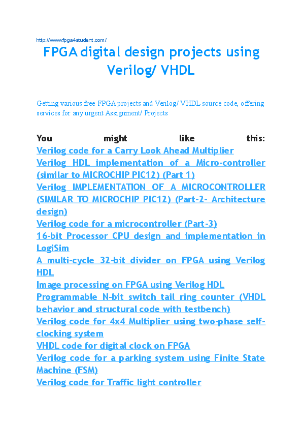 DOC) FPGA projects using Verilog VHDL | Van Loi Le